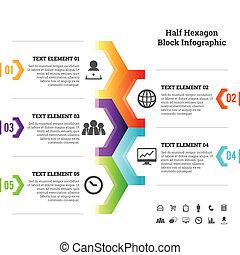 一半, infographic, 塊, 六角形