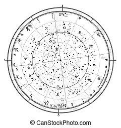 一般, '2020., 星象, 占星術, 普遍, 天上, 全球, 地圖, 北方, hemisphere.