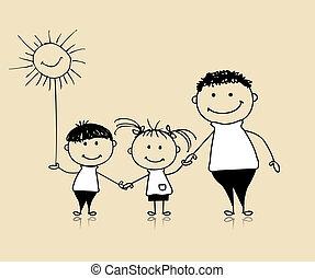 一起, 圖畫, 愉快, 孩子, 父親, 家庭, 微笑, 略述