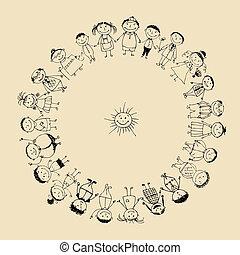 一起, 圖畫, 高興的家庭, 微笑, 略述, 大