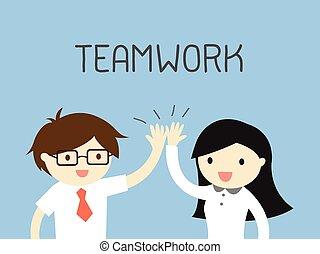 一起。, 工作