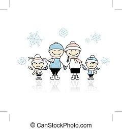 一起, 愉快, 假期, 聖誕節, 家庭, 微笑