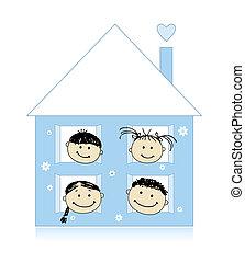 一起, 房子, 圖畫, 高興的家庭, 微笑, 略述, 自己