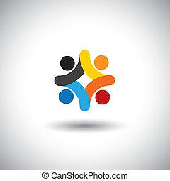 一起, 社區, 鮮艷, 玩, 也, -, 人們, 團結, 矢量, 孩子, 會議, 雇員, &, 學校, graphic., 罐頭, 統一, 孩子, 圖象, 插圖, 操場, 代表, 概念, 這
