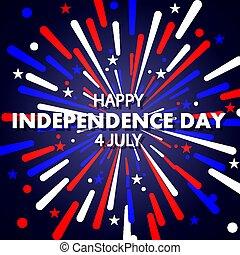 七月, 獨立, 愛國, 第4, 天, 顏色, 煙火, 美國