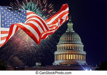 七月, 顯示, 美國, 建築物, 美國, 州議會大廈, 美國人, 給予, 天, 第4, 獨立, dc, 煙火, 快樂, 華盛頓疲弱