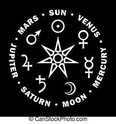 七, 星, astrology., 行星, magicians., septener.