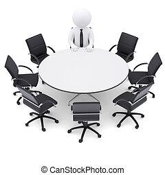 七, 椅子, 人, 桌子。, 輪, 空, 3d