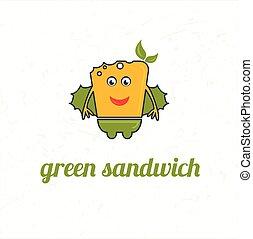 三明治, 綠色, 卡通