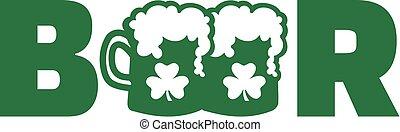 三葉草, 詞, 二, 啤酒, 綠色, 杯子