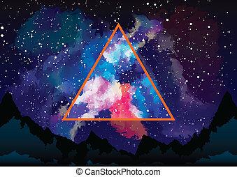 三角形, 神秘主義者, 透過, astral, 星系, 看法