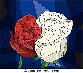 上升, 明亮, 沾污, 離開, 玻璃, 背景, 花, 插圖, frame., 紅色, 布朗