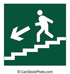 下來, 符號, 去, 樓梯, 人