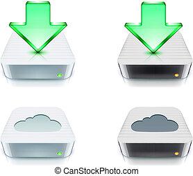 下載, 概念, 儲存, 雲