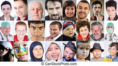 不同, 人們, 拼貼藝術, 年齡, 普通, 文化, 表示, 簽