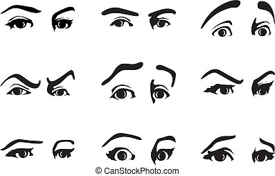 不同, 眼睛, 插圖, 矢量, emotions., 表達, 表示
