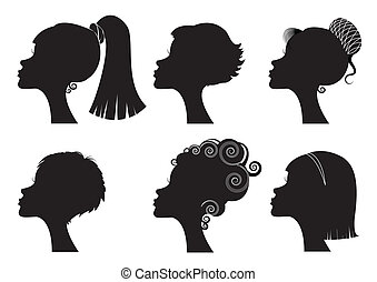 不同, -, 臉, 黑色半面畫像, 矢量, 黑色, 發型, 婦女