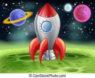 不同, 行星, 卡通, 火箭, 空間
