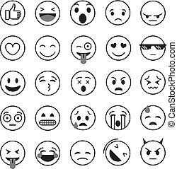 不同, 集合, 彙整, 矢量, lineart, emoji