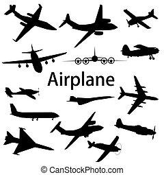 不同, illustration., silhouettes., 彙整, 矢量, 飛機