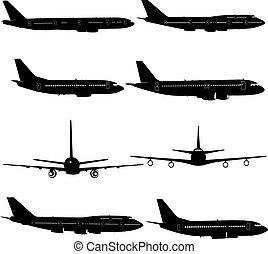 不同, silhouettes., 插圖, 飛机, 矢量, 彙整