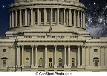不滿星星的, 在上方, 華盛頓 國會大廈, 夜晚