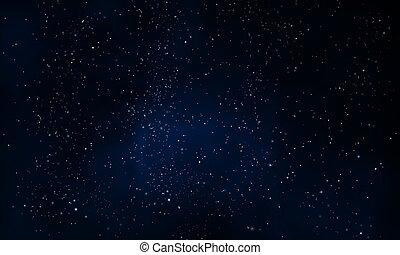 不滿星星的, 黑的天空, 夜晚, 有霧