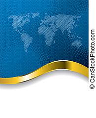 世界地圖, 小冊子, 藍色, halftone, 事務, 設計