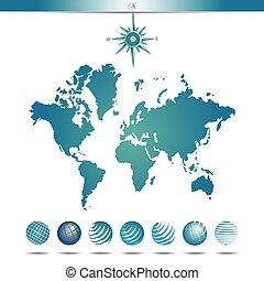 世界地圖, 球体, 指南針