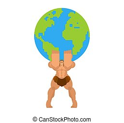 世界地圖, 肩, earth., atlant, 保持, 握住, 他的