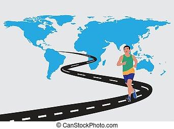 世界, 人, 地圖, 跑