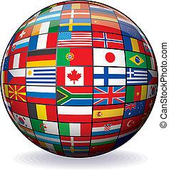 世界, 圖像, 矢量, 旗, globe.