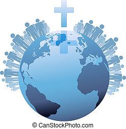 世界, 在下面, populations, 地球, 產生雜種, 全球, 基督教徒
