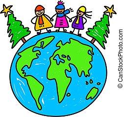 世界, 孩子, 聖誕節