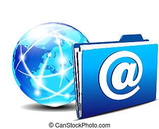世界, 文件夾, 電子郵件, 網際網路