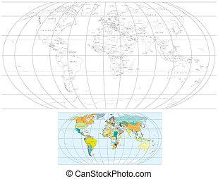 世界, 框線地圖