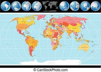 世界, 矢量, 地圖