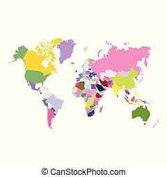 世界, 矢量, 政治, 地圖