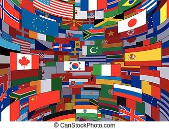 世界, 矢量, 旗, 背景。, 背景