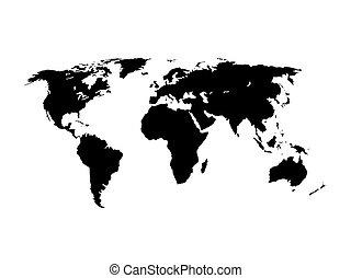 世界, 矢量, 黑色半面畫像, 插圖, 地圖