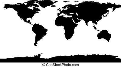 世界, 矢量, 黑色, illustration., 地圖