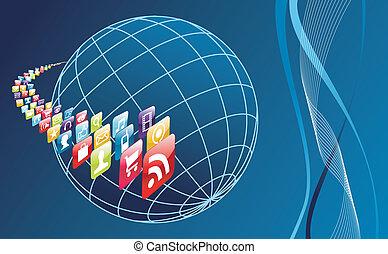世界, 電話, apps, 全球, arround, 圖象, 流動