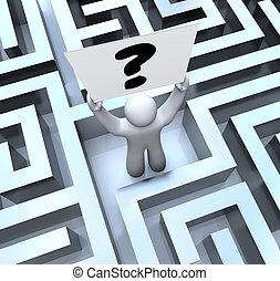 丟失, 迷宮, 問題, 簽署, 人, 藏品, 迷宮, 馬克