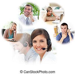 中心, 電話, 代理人, 顧客服務