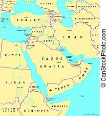 中東, 政治, 地圖
