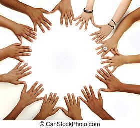 中間, 模仿空間, 做, 背景, 概念性, 白色, 多種族, 孩子, 符號, 環繞, 手