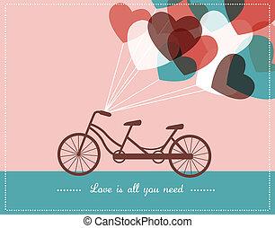 串聯的自行車, 卡片, 情人是