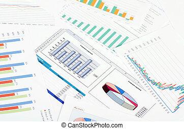 事務, 人們。, 圖, 工作場所, 桌子。, 圖表