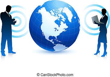 事務, 全球, 網際網路, 無線, 背景, 隊