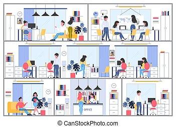 事務, 工作場所, 辦公室, 公司, 建築物, interior., 區域